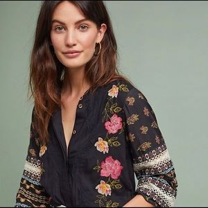 Akemi kin black blouse embroidered anthropologie